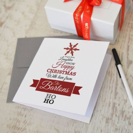 Personalised Christmas Tree Card Pack